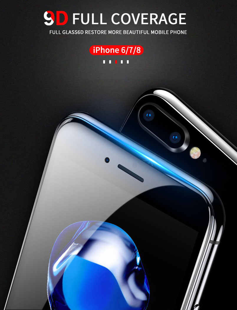 9D untuk iPhone 11 11r Pro XS Max XR 7 8X10 6 6 S Plus Tepi Melengkung Tempered glass 9H Screen Protector Full Cover Film Kasus
