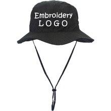 f604b326 10pcs A lot Embroidery Logo Bucket Cap Adult Fishing Hats Windproof rope Men  Bucket Hat Travel