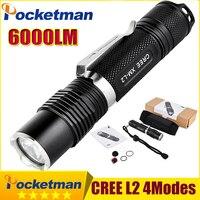 6000 Lumens Mini Tactical Led Torch CREE L2 Penlight Torch Light Powerful LED Flashlight Tactical Zaklamp