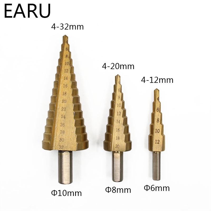 4mm To 12mm 20mm 32mm HSS Steel Step Drills Bit Tool Set Hex Shank Coated Metal Drill Bit Cut Tool Set Hole Cutter 4-12/20/32mm