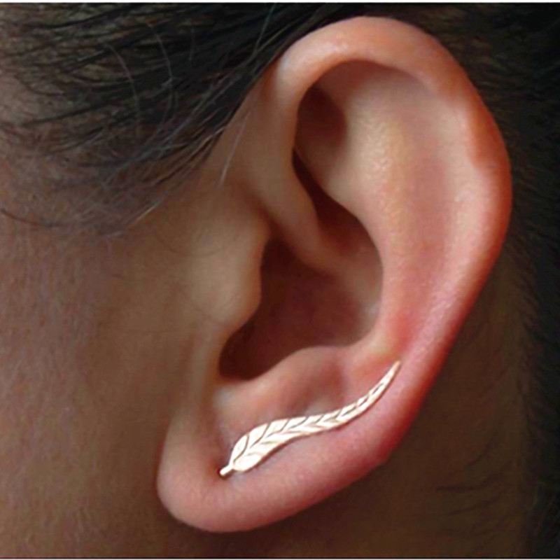 E02 New Fashion Jewelry Leaf Stud Earrings For Women 2017 Hot Sale 1 Pair Ear Cuff Gold-color Earring Wholesale Free Shipping(China)