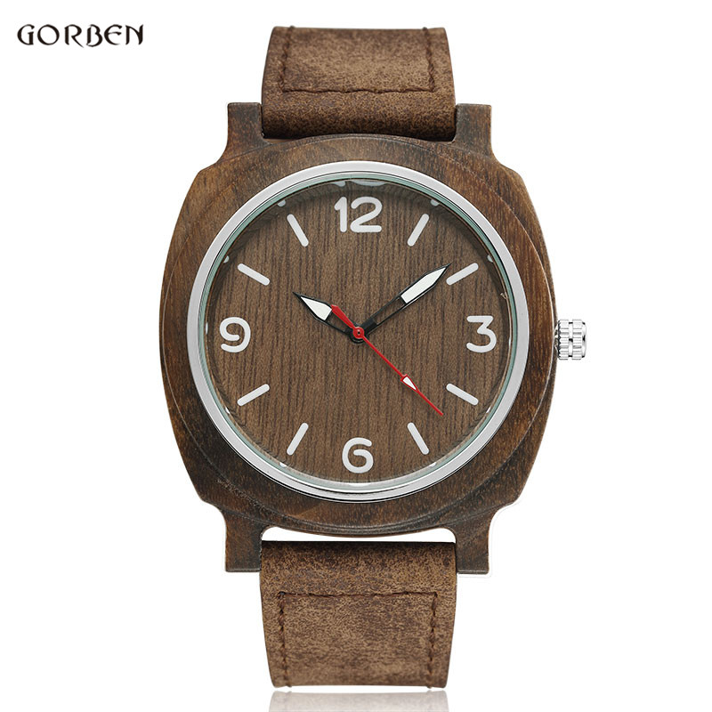 GORBEN Bamboo Wood Watches Male Genuine Leather Watchband Clock Relogio Masculino Mens Womens Wooden Watch Gift For Lady Man