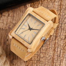 Wooden Watch With Genuine Leather Strap