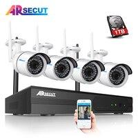 8CH H 264 NVR Wireless CCTV System Onvif 4pcs 1080P IP Camera WIFI Waterproof IR Night