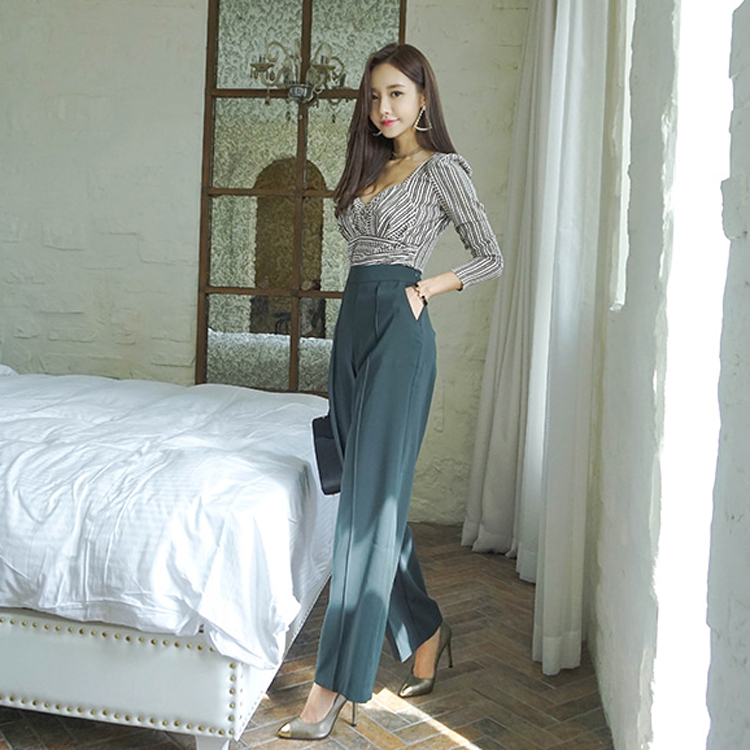 Crop Top And Pants Set Women Summer Autumn Elegant V-Neck Long Sleeve Print Blouse And Dark Green High Waist Wide Leg Long Pants