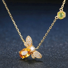 Silikolove 1pcs Charm Fashion Micro-inlaid Bee Necklace Women Pendant Gold Animal Choker Popular Jewelry Decoration