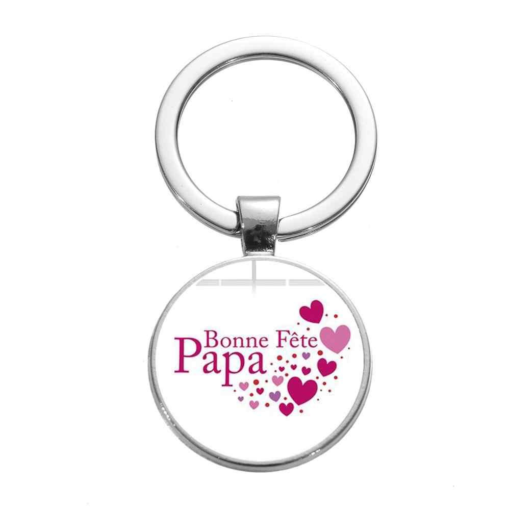 SONGDA סופר אבא חמוד Keychain עבור גברים לחדש אותיות כסף זכוכית קרושון מפתח טבעת אהבת אבא בן משפחה אבות יום מתנה