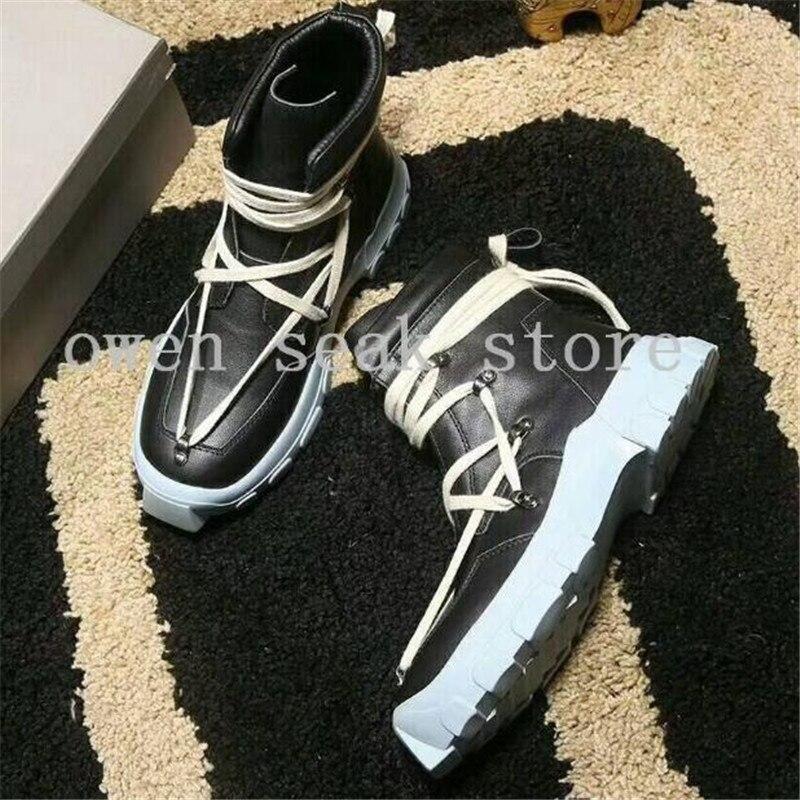 up Luxo De Seak Lace zip Formadores Couro Preto Ankle Owen Sapatos 2018 Casuais prata Pretos Sapatilha Botas Boots Homens Plana Alta Genuíno Zip top zip IOT5fqxw