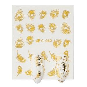 Image 4 - Pleine beauté or argent ongle eau autocollant plume fleur araignée conception décalcomanie pour ongles décoration Nail Art manucure curseur CHY