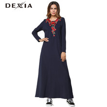 Dexia Rose Embroidery Patch Loose Dresses Winter Autumn 2018 Women Navy  Round Neck Long Sleeve Casual Shift Maxi Dress ccf89d047197