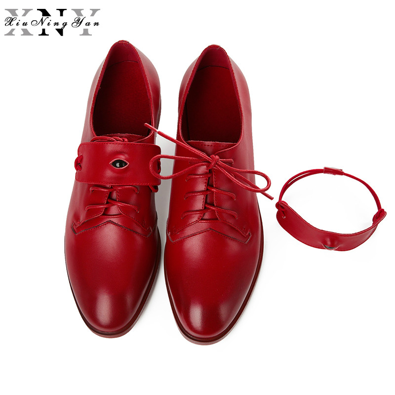 XiuNingYan Shoes Woman Luxury Brand Genuine Leather Women Flat Shoes Lace-up Fashion Handmade Women Casual Oxfords Fashion Shoes