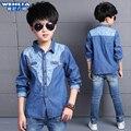 Vestuário infantil 2016 camisa criança do sexo masculino longo-luva denim shirt 7 crianças camisa 9 meninos primavera e outono para 7-15 anos velho