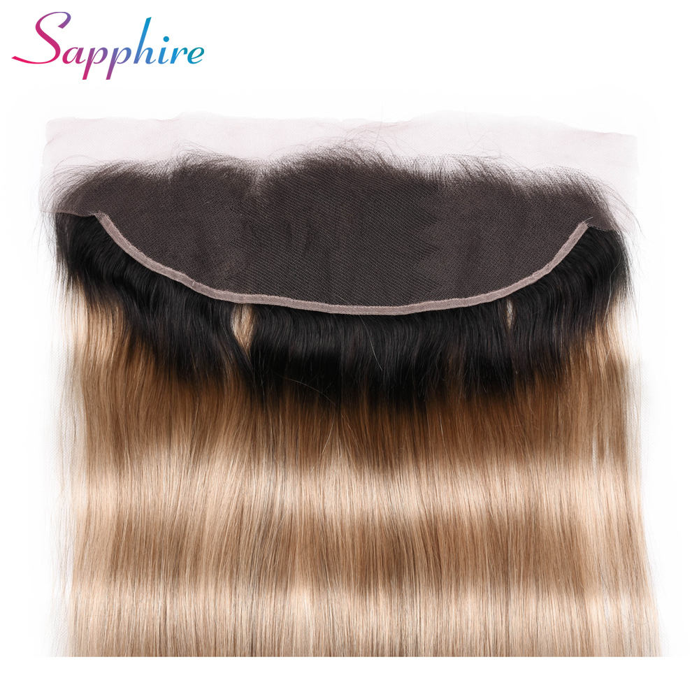 Sapphire  13x4 Ear To Ear Brazilian Straight Pre Plucked Lace Frontal Closure Ombre T1B 27 Remy Two Tone Human Hair Free shippin