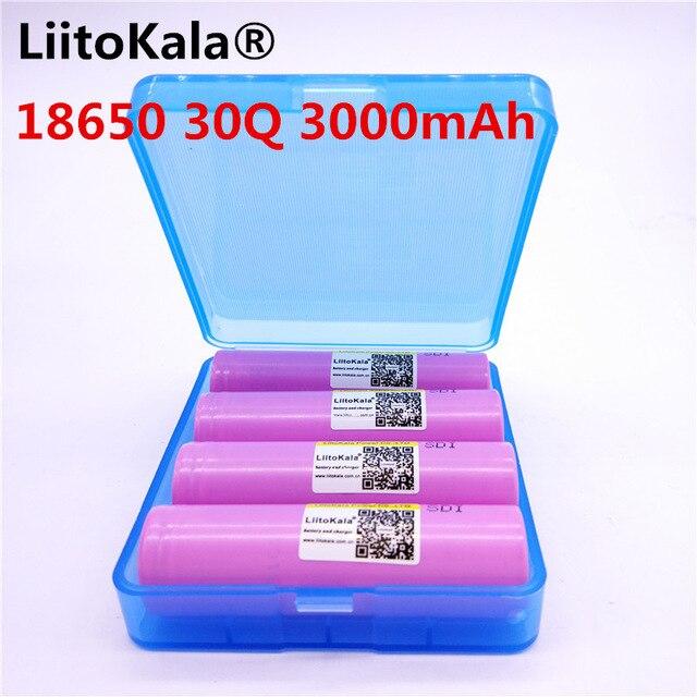 4 pcs LiitoKala 100% original Novo para Samsung INR 18650 30Q INR18650 bateria 3.7 v 3000 mah li-ion Baterias Recarregáveis