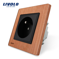 Free Shipping Livolo New Outlet French Standard Wall Power Socket VL C7C1FR 21 Cherry Wood AC