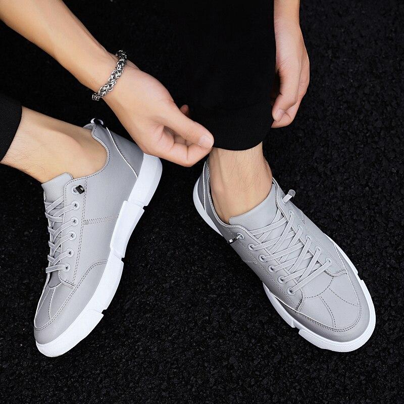 Chaussures Shoes Casual Plat vulcanize Hommes De slip Étudiants Dentelle Vulcaniser Léger Cuir En Sneakers up Non Vulcanize Shoes Mode Respirant Aptesol YfRqq