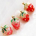 YANA Jewelry 2 colors Pink and Red Fashion Red Big Strawberry Stud Earrings For Woman Crystal Jewelry 1Pair