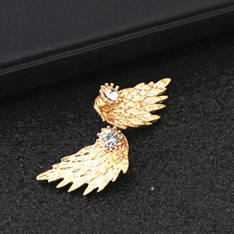 Sayap Malaikat Bros untuk Wanita Anting-Anting Bertatahkan Kristal Telinga Perhiasan Anting-Anting Pesta Gothic Bulu Anting-Anting 2017 Fashion Bijoux E065