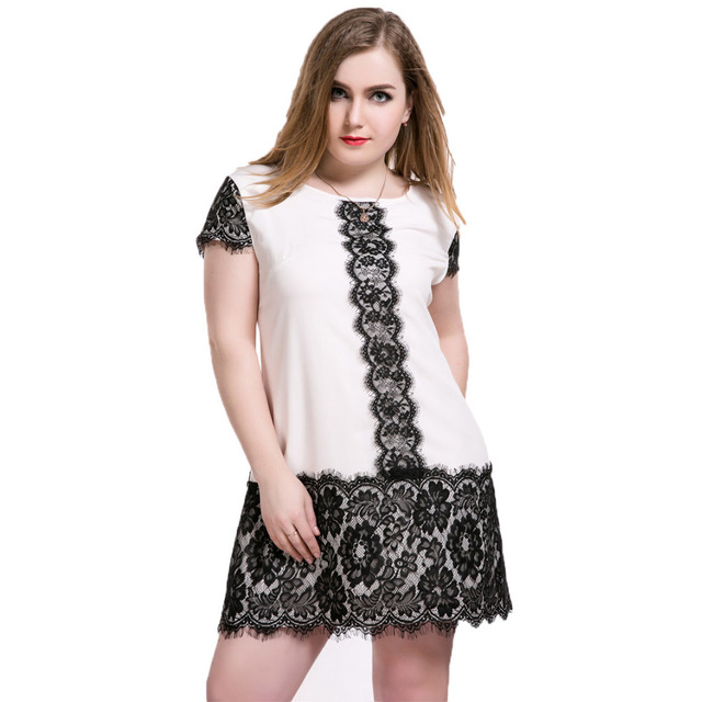 Loose Dresses Plus Size Black Lace Dresses for Women Vestidos Short Sleeve  5XL Pink and Black d2d2d489e2