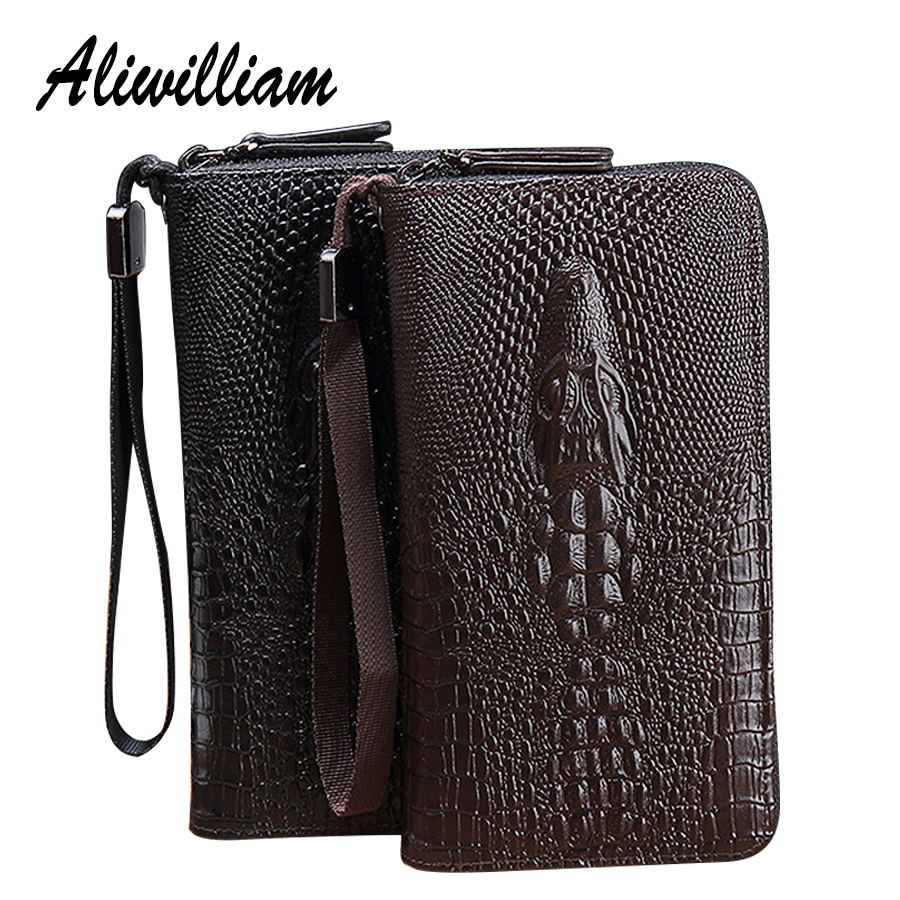 3D Crocodile Men Long Wallets Clutch PU Leather Phone Purse Large Capacity Handbag Male Card Holders Classical Men Clutch Wallet new fashion men long design pu leather black white wallet male zipper handbag purse large capacity clutch wallet gift for men