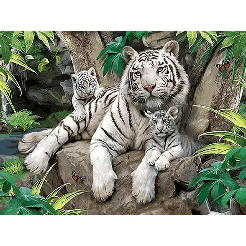 Big And Little White Tiger Animal DIY Digital Painting By Numbers Modern Wall Art Canvas Painting Unique Gift Home Decor 40x50cm