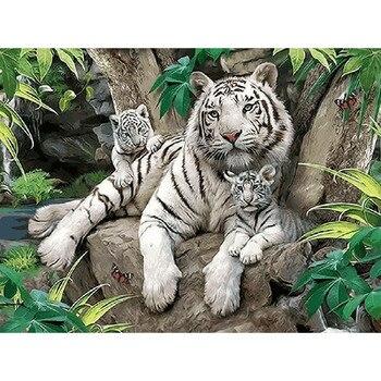 Grande E Pequeno Tigre Branco Animal Pintura Digital DIY Por Números Moderna Pintura da Lona Arte Da Parede Decoração da Casa Presente Original 40x50cm