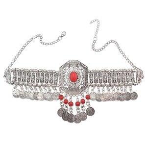 Цыганский Бохо, окисленное украшение, красный камень, воротник, цветок, кристальная бусина, чокер, ожерелье с кисточками для монет, для женщи...