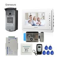 Бесплатная доставка 7 видеодомофон видео домофон комплект + 1 монитор 1 доступа RFID считыватель дверной звонок Камера + e замок на складе оптов