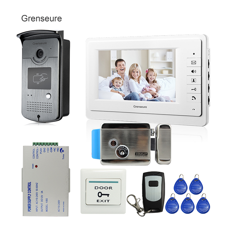 FREE SHIPPING 7 Video Intercom Door Phone Kit With 1 Monitor 1 RFID Access Reader Doorbell Camera + E-Lock In Stock Wholesale free shipping 2 touch monitors 7 inch lcd video intercom door phone doorbell system rfid door camera e lock remote in stock