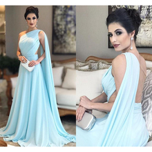 Evening-Dresses Arabic Floor-Length Chiffon Saudi Back Pleat One-Shoulder Sky-Blue Illusion