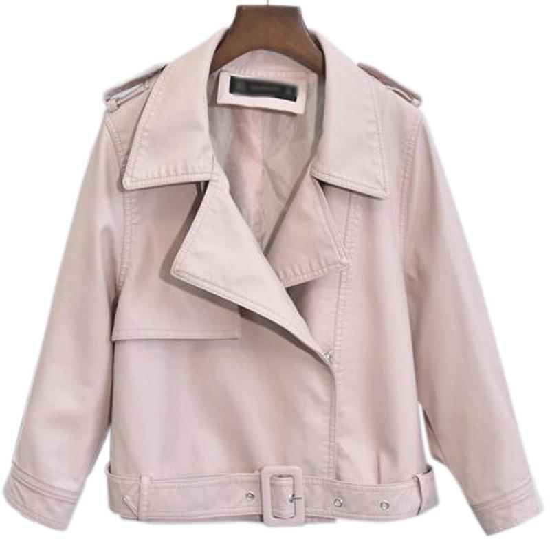 Printemps Manteau Blue Couleur Nouveau Femmes 2018 Femme Automne Vestes Pu En Mode Amovible Casual Lâche Outwear pink Solide Ceinture Cuir R5wCO