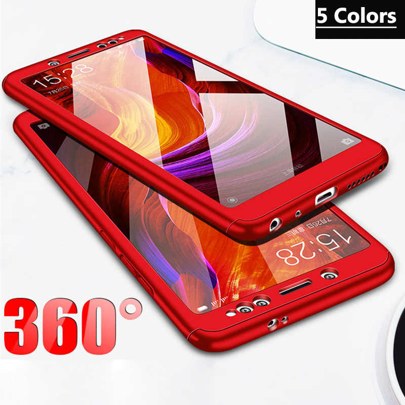 3-in-1 Plastic Case + Glass Full Cover 360 for Xiaomi Mi A1 A2 lite Cover Mi 8 6 Xiaomi Mix 2 Max 2 Case +Tempered Glass Gift