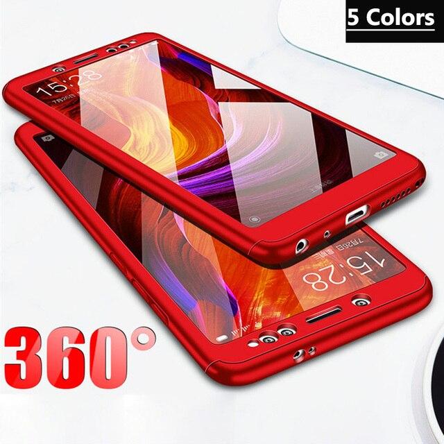 Funda de plástico 3 en 1 + cubierta completa de vidrio 360 para Xiaomi mi A1 A2 lite cubierta mi 8 lite Xiaomi mi x 2 Max 2 3 funda + Vidrio Templado