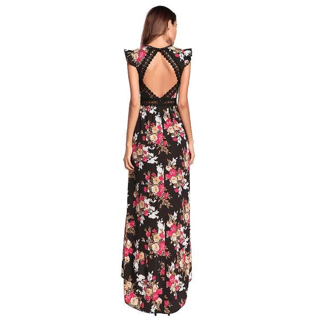 040c900378 Women Chiffon Dress Bohemian Floral Print V Neck High Low Asymmetric  Backless High Waist Maxi Dress