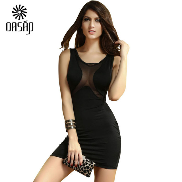 6f557ad8a906 OASAP Vestido Vintage Glamorous Night Out Look Black Mesh Inserts Bodycon  Dress Imported Hourglass Sexy Curves Dresses-62170
