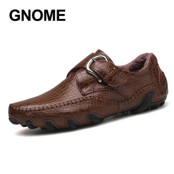 GNOME duży rozmiar poślizgu na krokodyla męskie buty zimowe futro męskie mokasyny buty z prawdziwej skóry męskie mokasyny buty włoskie buty do jazdy samochodem tanie i dobre opinie Dla dorosłych Przypadkowi buty Krótki pluszowe 10-13-01 Gumowe Slip-on Pasuje prawda na wymiar weź swój normalny rozmiar
