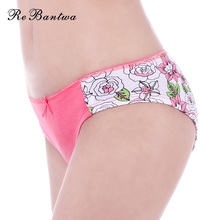 Rebantwa Women Underwear Cotton Sexy Panties Plus Size Female Floral Printed Briefs Ladies Knickers Sexy Lingerie Cute Intimates