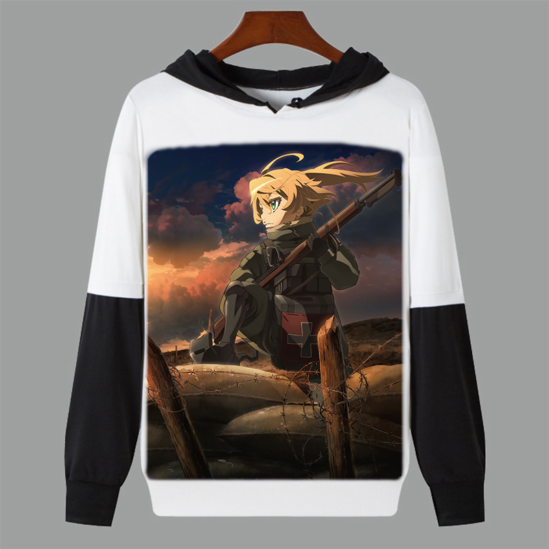 Spring Autumn Long Sleeve Hoodie Anime The Saga of Tanya the Evil Cosplay Hooded Sweatshirt Student Pullover Thin Tops Customize