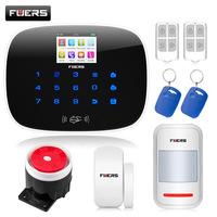 Fuers Wireless Burglar Alarm G19 GSM SMS RFID Home House Burglar Alarm System Security WIFI APP HD Camera Security Alarm Black