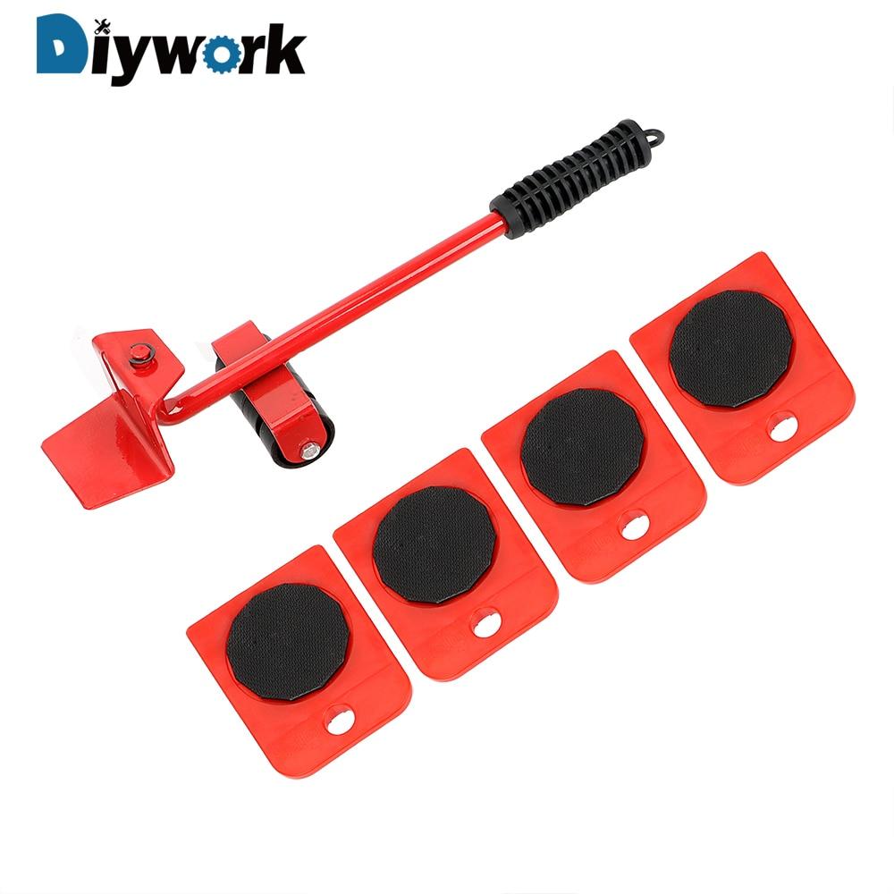DIYWORK 4 roues coin Movers + 1 pied de biche Lifter Mover rouleaux lourds outils mobiles meubles Transport main outil ensemble
