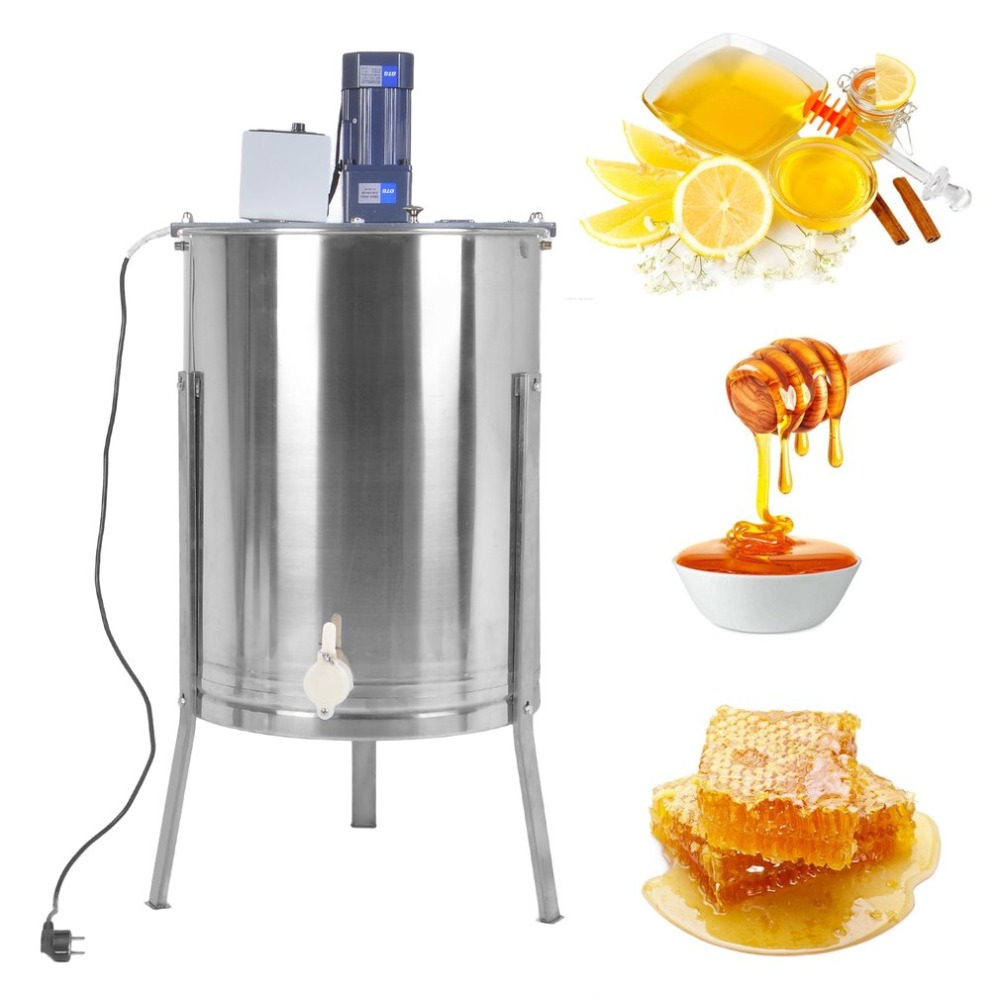 Electric Honey Blower 4 Frames Honeycomb Honey Harvest Stainless Steel Beekeeper Apiary Sling Drum Beehive Processing new goods harvest hunting