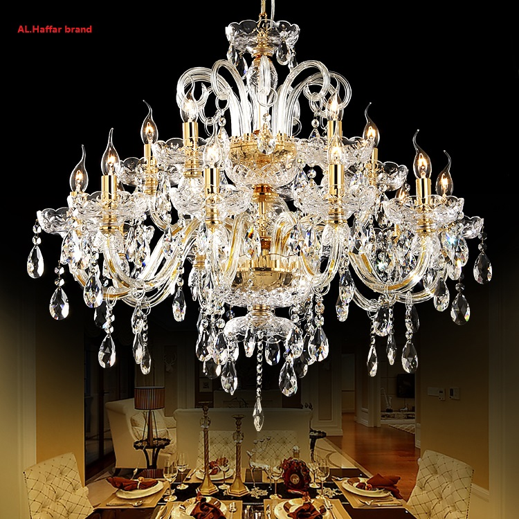 new Luxurious Large Export K9 Gold Crystal Chandelier Arms Lustres De Cristal Chandelier LED chandelier European Style k9 puppy gold