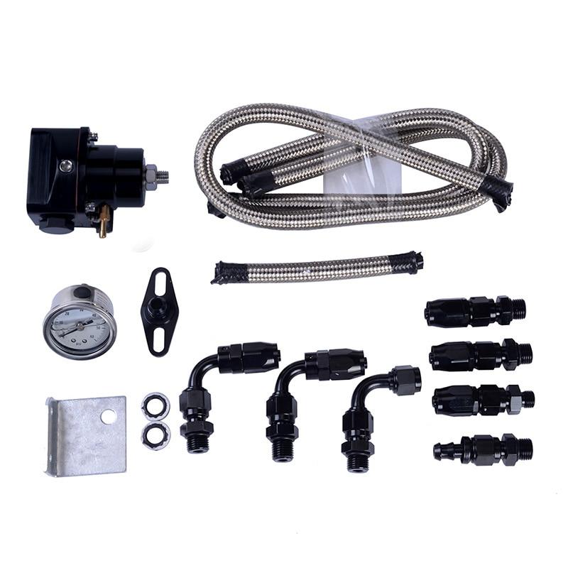 6 AN Black Fuel Pressure Regulator Adjustable Fuel Pressure Regulator With 6AN Oil Hose End Fitting Adapter With Gauge Hose End racing fuel regulator delivery adapter