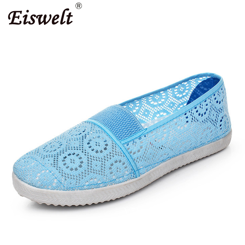 EISWELT Women's Flats Summer Solid Ladies Shoes Flat Bottom Hollow Shoes Females Soft Bottom Breathable Shoes Women Shoes Flats eiswelt women summer flats hollow shoes female breathable ladies new shoes flat fashion women casual shoes women s loafers