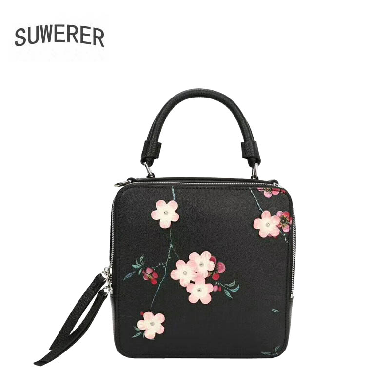 SUWERER 2018 New women genuine leather bag famous brands flower fashion top cowhide small tote bag women leather handbags 2018 new women bag genuine leather brands top quality cowhide chinese style embossed women handbags fashion leather tote bag