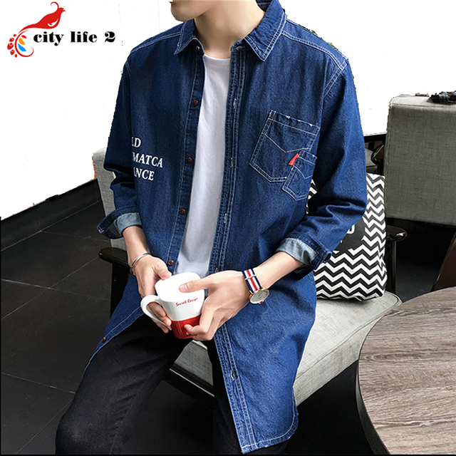 Long Windbreaker Denim Jackets Jeans Men Shirt Coat 2016 Spring And Autumn Cowboy autumn Fashion Coats Male Plus Size M-3XL