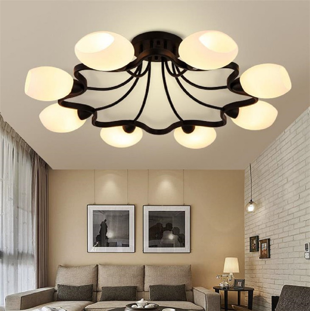 4 6 8 Milky Lampshades Glass Ceiling Lights Lights Chandelier Lustre Black Iron Ceiling