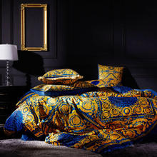 FAMVOTAR Luxury Bedding Set Showy Blue&Golden Geometric Cells Embroidery Duvet Cover Bed Endless Pattern Blue