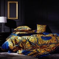 FAMVOTAR Luxury Bedding Set Showy Blue&Golden Geometric Cells Embroidery Duvet Cover Bed Set Endless Pattern Blue Bedding Set