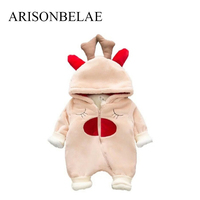 ARISONBELAE Baby Thick Jumpsuits Long Sleeve Winter Warm Newborn Christmas Clothes Baby Boys And Girls Bodysuits